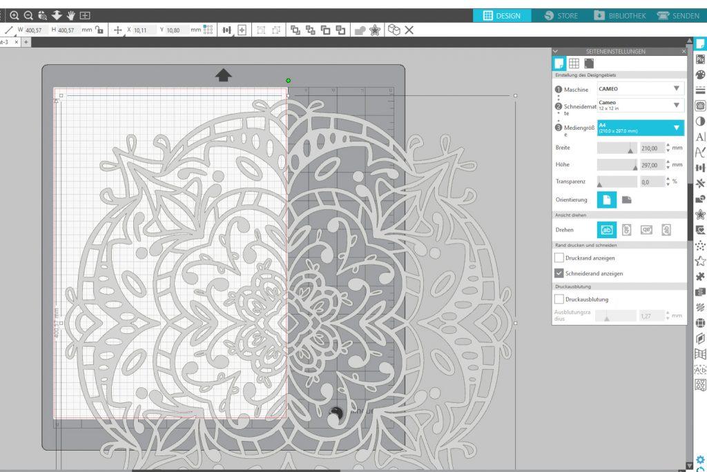 Design- und Materialgröße im Silhouette Studio festlegen