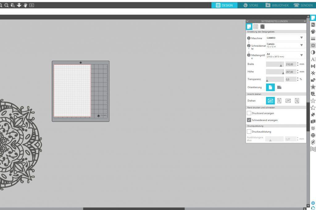 Design- und Materialgröße eingeben.