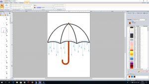 Die Regenschirm-Applikation mit Strass in der Software PE-Design