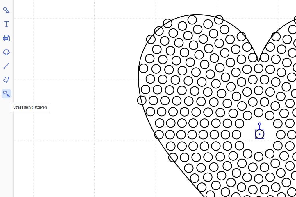 Einzelne Strasssteine im Design platzieren