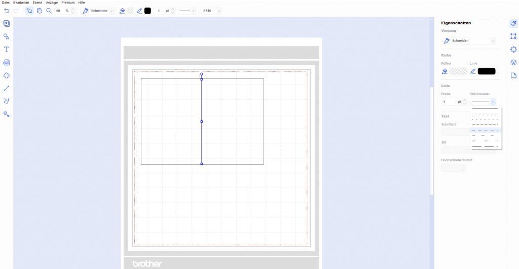 Kartenform und Falzlinie im CanvasWorkspace erstellen
