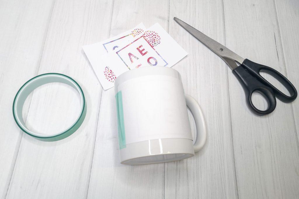 Motiv auf der staubfreien Tasse positionieren