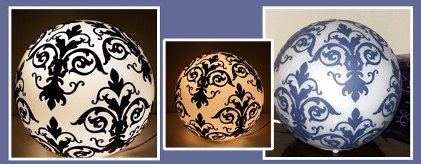 Mit Ornamenten verzierte Kugellampe