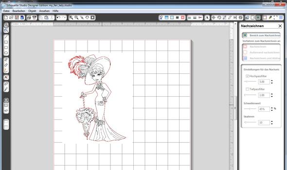 "Motiv ""My Fair Lady"" in der Software Silhouette Studio (mit rotem Rand)"