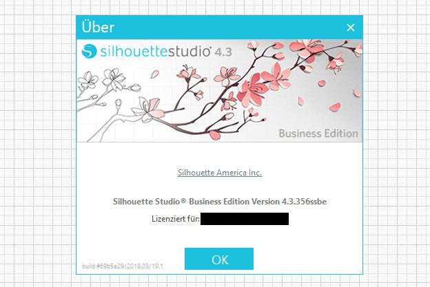 Anzeige der Versionsnummer Silhouette Studio