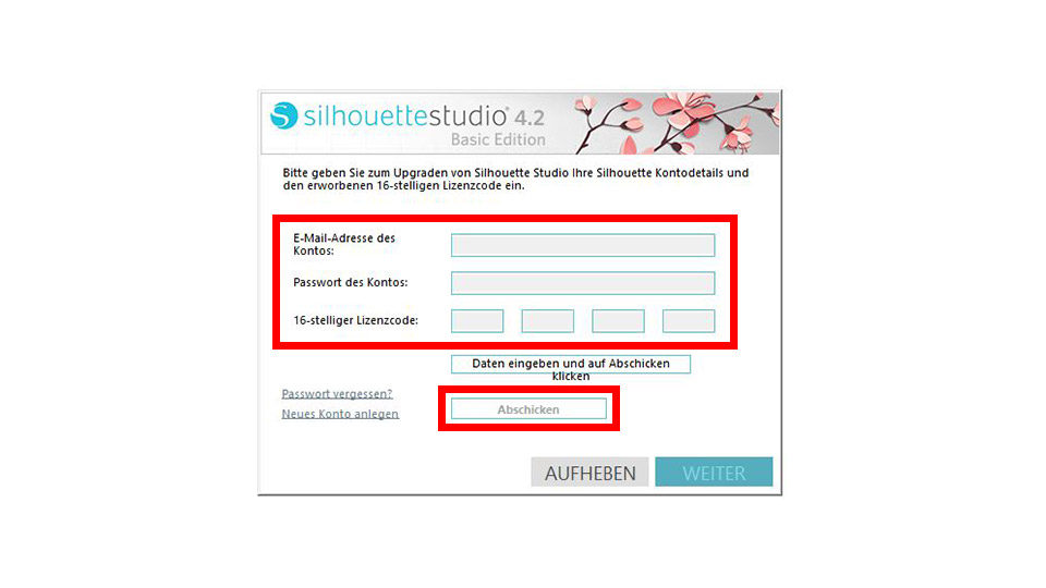 Dateneingabe - Silhouette Studio Upgrade