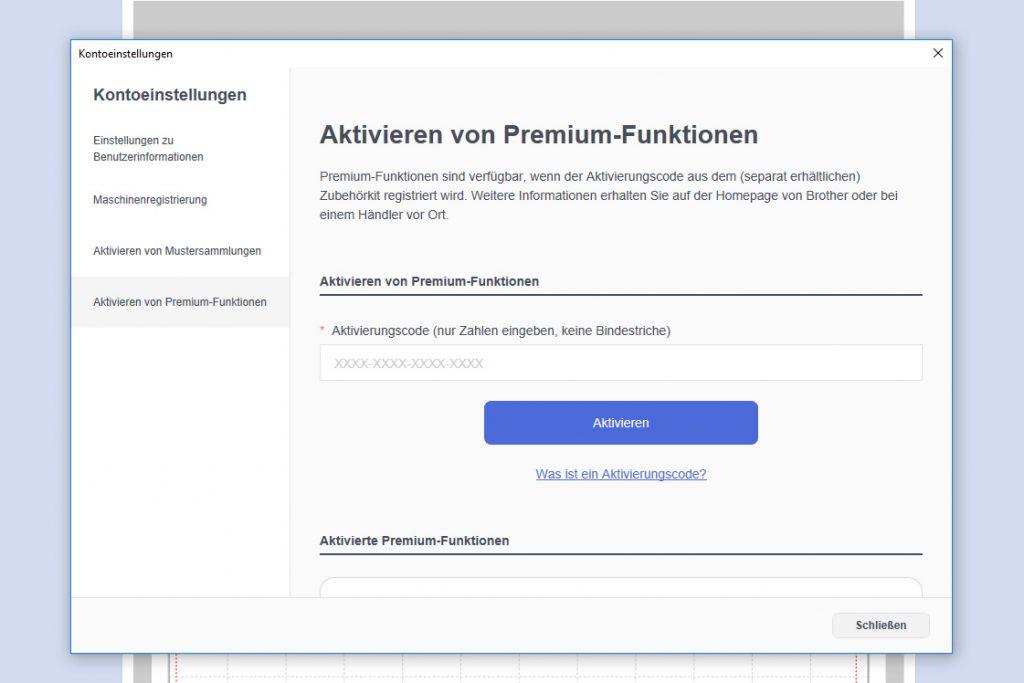 Code für die Premium Funktion eingeben