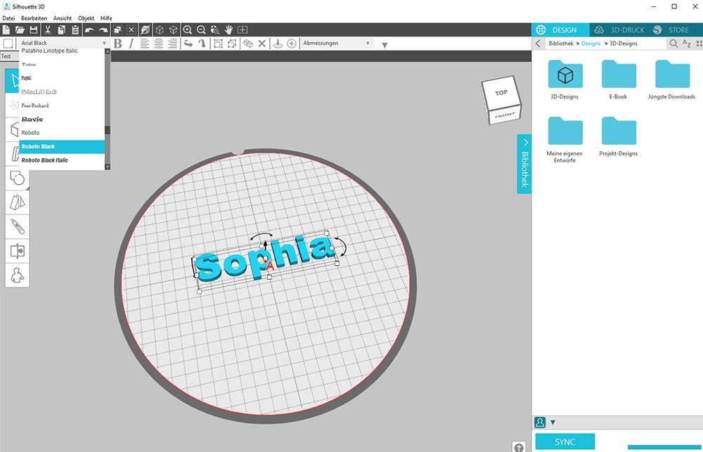 Eigene Designs in der Dieser Anhänger ist aus einfachen Formen in der kostenlose 3D Software Silhouette 3D erstellen.
