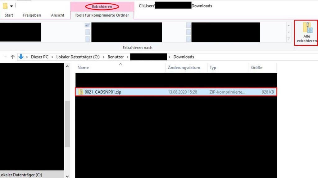 ZIP-Datei auswählen und entzippen