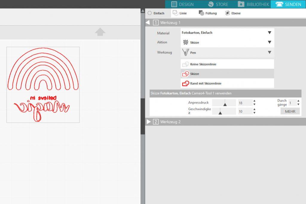 Screenshot Datei spiegeln und senden im Silhouette Studio Programm