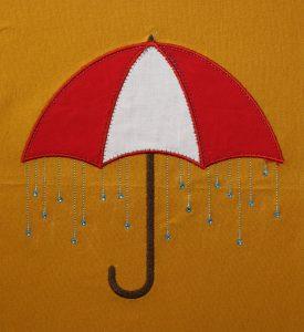Kostenlose Regenschirm-Applikation mit Strass fertig