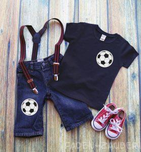 Outfit mit Fussball-Applikationen vom Hobbyplotter