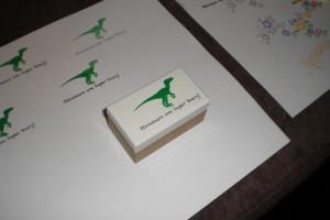 Der fertige selbstgemachte Stempel mit Etikett