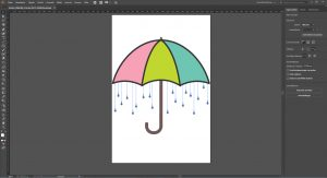 Das Design der Regenschirm-Applikation mit Strass in Illustrator