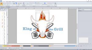 PE11 mit Design für Grillschürze mit Applikation