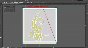Design für die Fensterfolien mit Passermarken in Adobe Illustrator