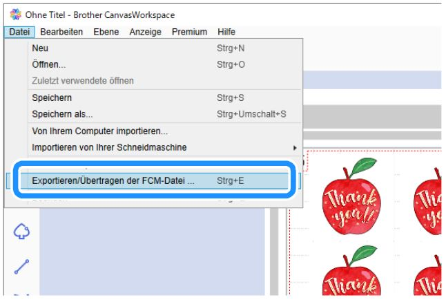FCM-Datei exportieren