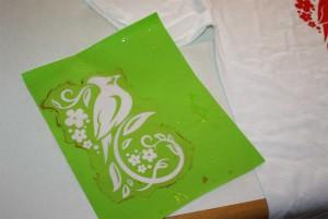 Die mit dem Hobbyplotter selbst gemachte Siebdruckschablone nach dem Auswaschen