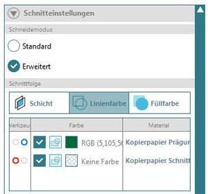 Schnitteinstellungen-Screenshot