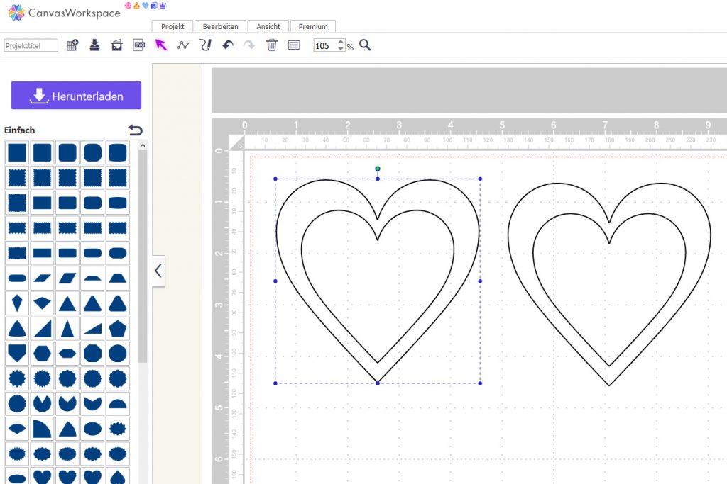 Anordnung der kopieren Formen in meinem Arbeitsbereich.