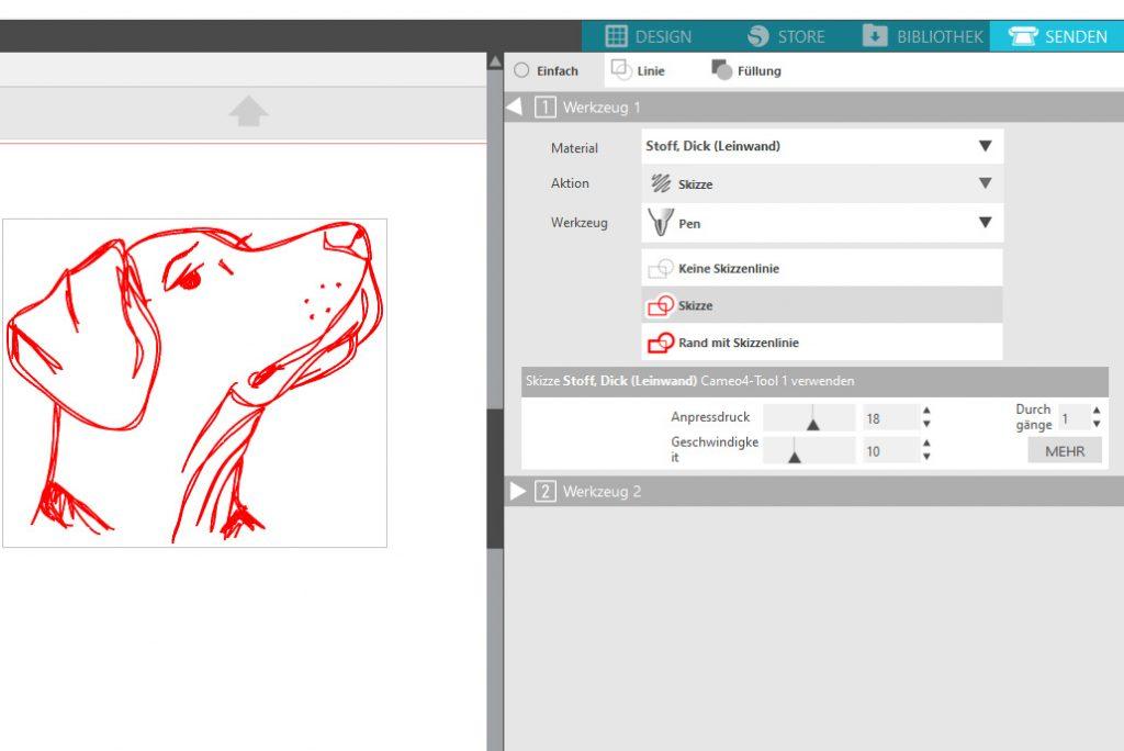 Screenshot Silhouette Studio Einstellungen