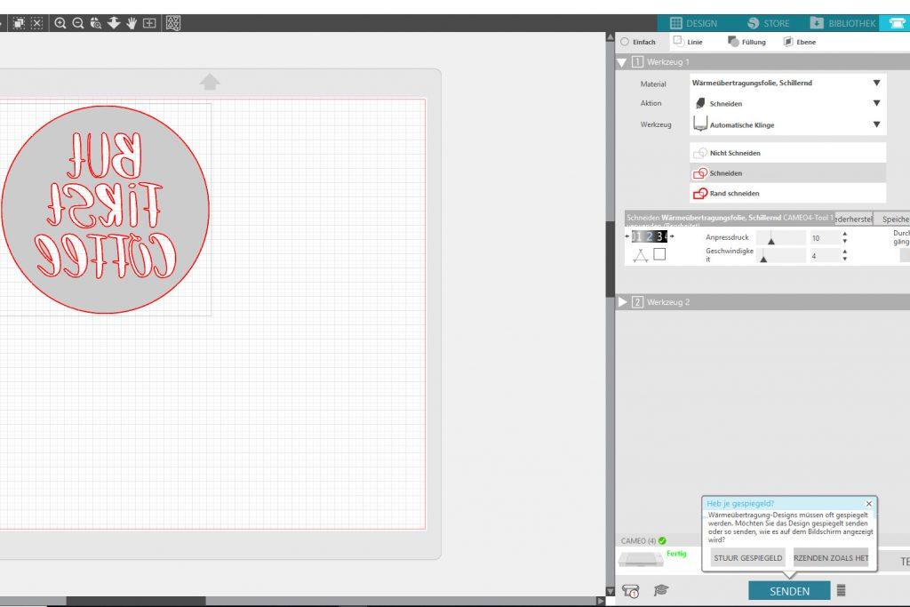 Silhouette Studio Datei an den Plotter senden