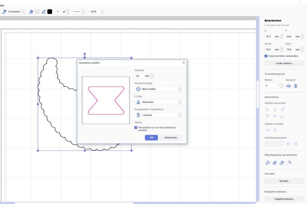 CanvasWorkspace Versatz um die Datei erstellen