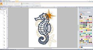 Seepferd in PE-Design zum Entwurf maritimer Applikationen