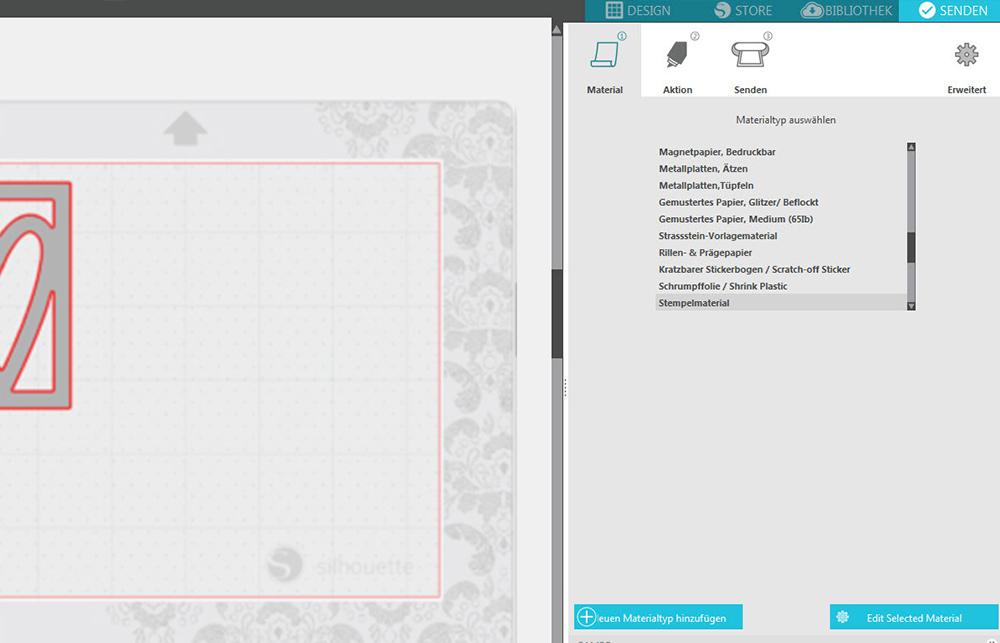 In der Silhouette Software können Sie Ihren Materialtypen auswählen.