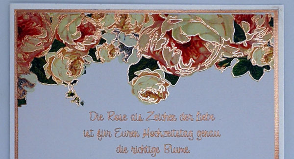 Karte zur Rosen Hochzeit
