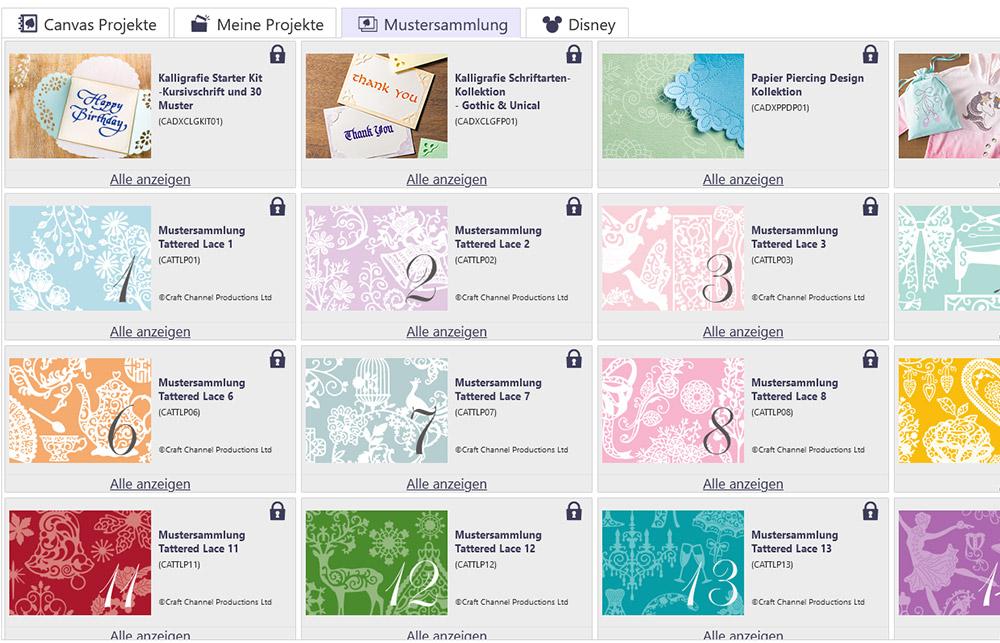 In der Bbrother Software können Sie alle separat erhältlichen Mustersammlungen einsehen.