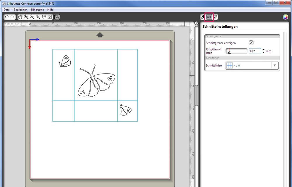Stellen Sie in Silhouette einen Entgitterrahmen ein. Somit können Sie Ihre Designs nach dem Schneiden leichter entgittern.