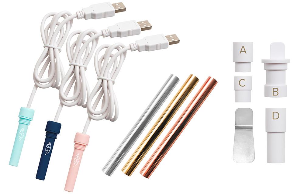 Im praktischen Starterkit von Foil Quill finden Sie drei verschiedene Folien & Stifte, welche sich in der breite unterscheiden. Außerdem gibt es gleich den passenden Adapter für Ihren Plotter mit dazu.