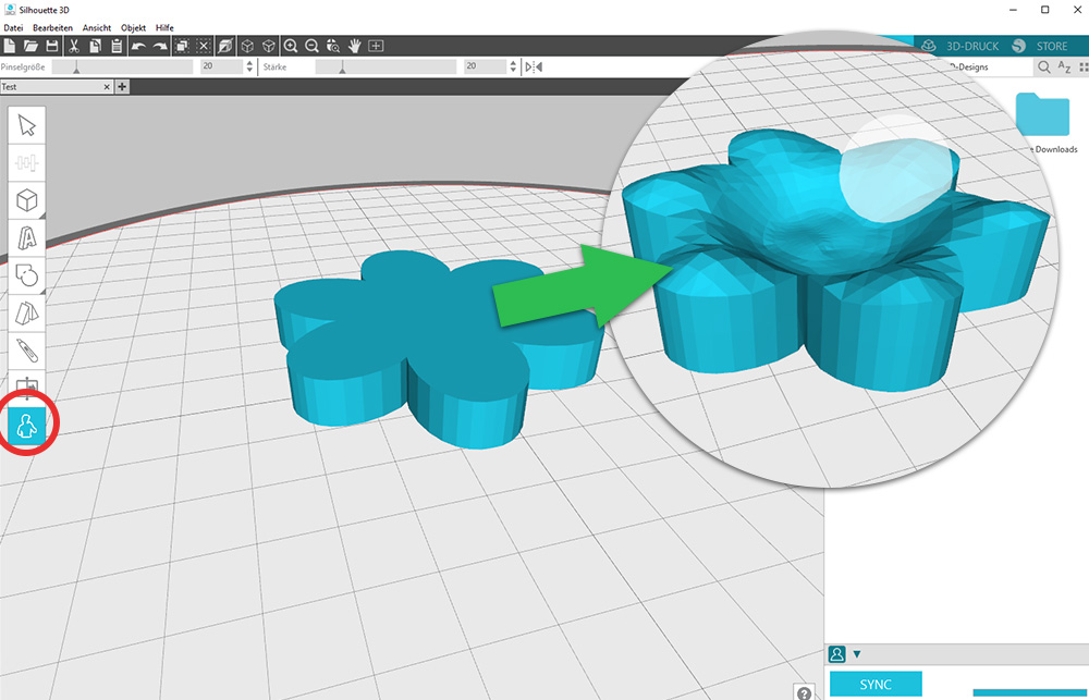 Mit dem Formen Werkzeug können Sie Ihr Motiv nach Ihren Wünschen modellieren. 3D Modelle erstellen – ganz einfach!