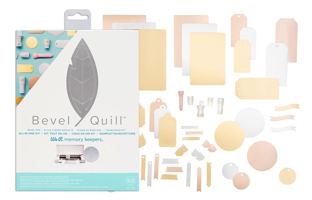 Beim Starterset des Bevel Quill sind nicht nur das passende Prägewerkzeug oder Material dabei, sondern auch verschiedene die Adapter für Ihren Schneideplotter.