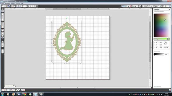 Motiv der Kommunionkarte in der Silhouette Studio Software