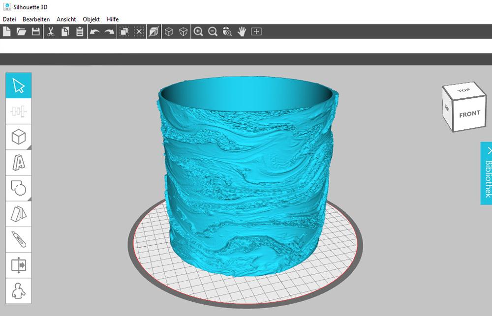 Ihr 3D Objekt können Sie in der Software weiter anpassen.