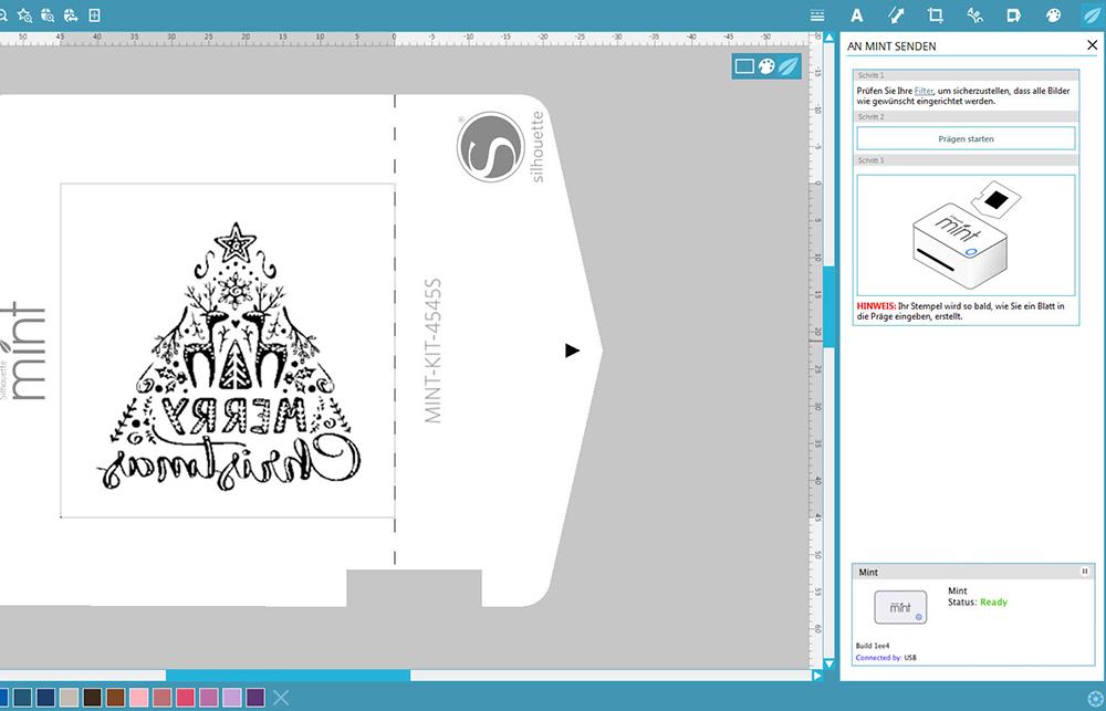 Das Mint Studio wird Ihr Design automatisch für Ihren Stempel spiegeln.