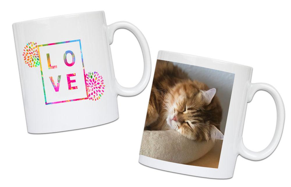 Verzieren Sie Ihre eigenen Tassen mit Bildern, Logos, Sprüchen und vielem mehr!