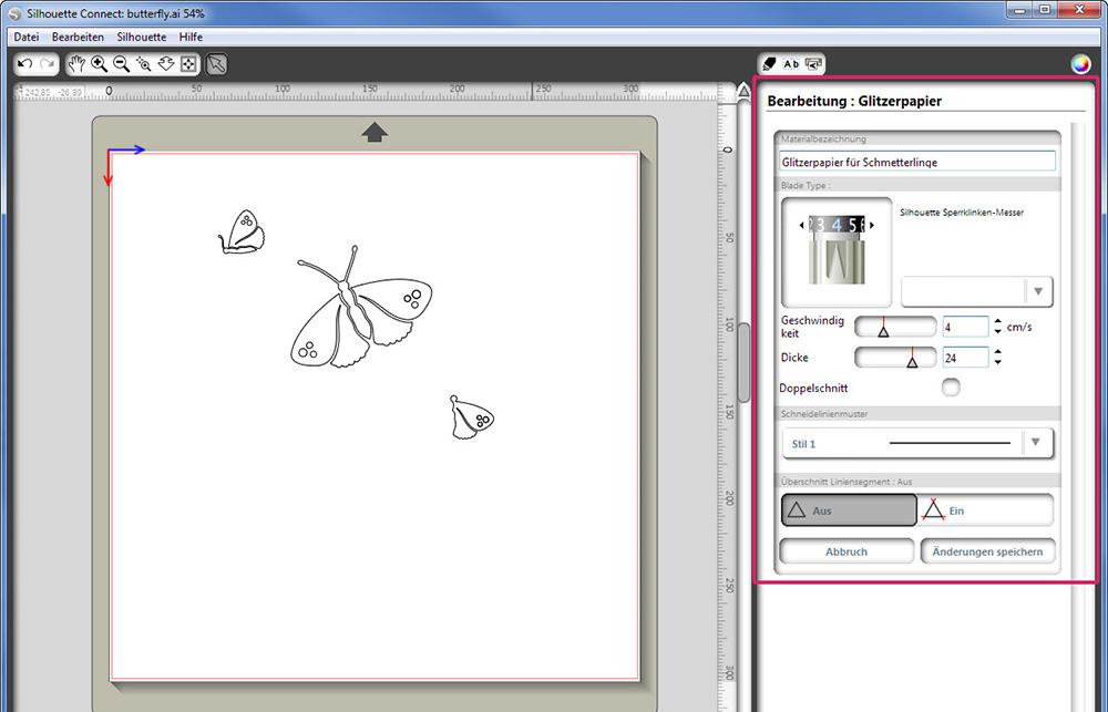 Auch manuelle Einstellungen oder Anpassungen Ihres Auftrags können in Silhouette Studio gewählt werden.