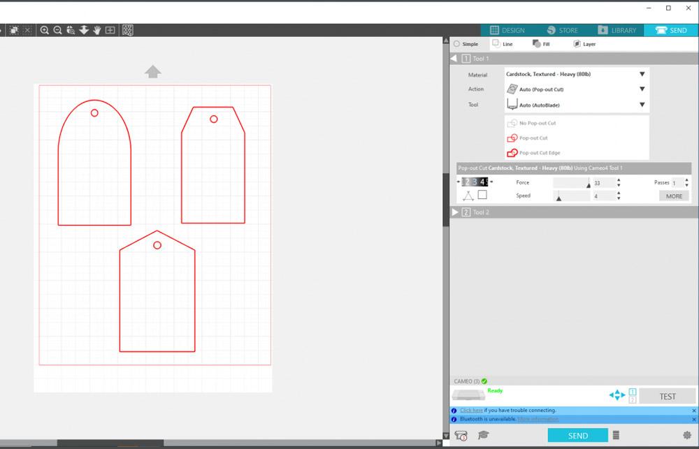Im Silhouette Studio stellen Sie die Einstellungen für Ihr Schneidemesser (oder anderes Werkzeug) ein.