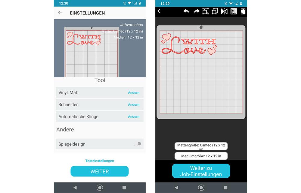 Wie gewohnt können Sie Ihr Motive auch in der App anpassen und verschiedene Einstellungen auswählen.