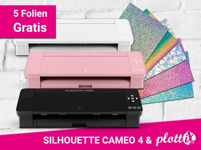 Die neue SILHOUETTE CAMEO 4 nun auch in schwarz und pink. Zu jedem Gerät gibt es 5 plottiX Folien Gratis dazu!
