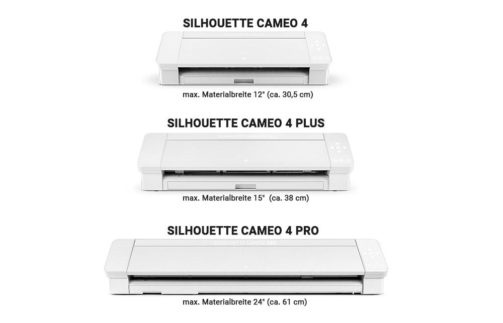 Die SILHOUETTE CAMEO 4 ist in drei verschiedenen Größen erhältlich.