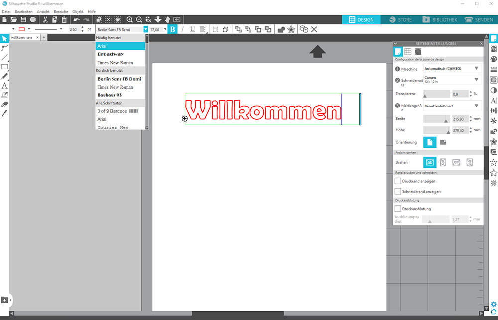 In der Silhouette Studio Software können Sie auf alle installierten Schriften (Ihres Computer) zugreifen.