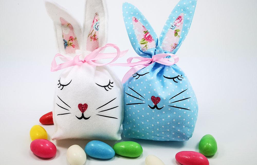 Es müssen nicht immer großflächige Motive sein. In diesem Beispiel haben wir unsere kleinen Oster-Taschen mit niedlichen Hasen Gesichtern versehen!