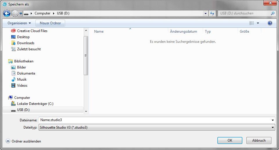 """Die fertige Datei kann mit """"Speichern unter"""" auf Ihrem USB-Stick gespeichert werden."""