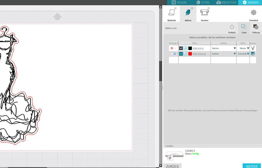 Nun können Sie den verschiedenen Pfaden (und Farben) die entsprechende Funtkion zuteilen.
